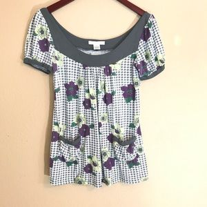 Vintage style oversized blouse floral houndstooth